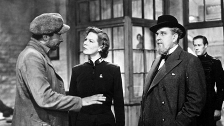 Wendy Hiller as Major Barbara, Robert Morley as Andrew Undershaft, and Rex Harrison as Adolphus Cusins ('Major Barbara,' 1941)